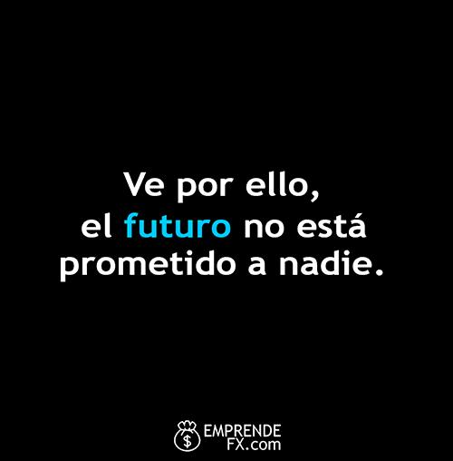 frases motivadoras cortas: ve por ello, el futuro no está prometido a nadie.