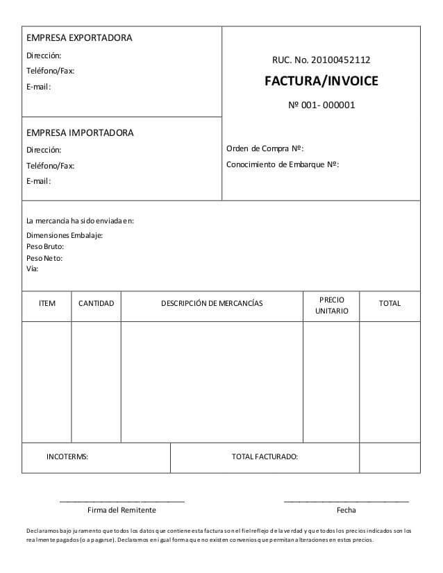 Factura comercial, commercial invoice, modelo y formato