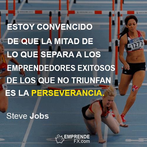 FRASES DE STEVE JOBS APPLE: Estoy convencido de que la mitad de lo que separa a los emprendedores exitosos de los que no triunfan es la perseverancia.
